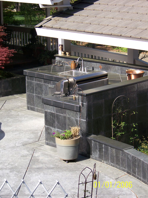 Custom Tile, Stainless Steel Outdoor Kitchen